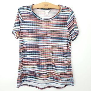 Womens Striped Short Sleeve Blouse
